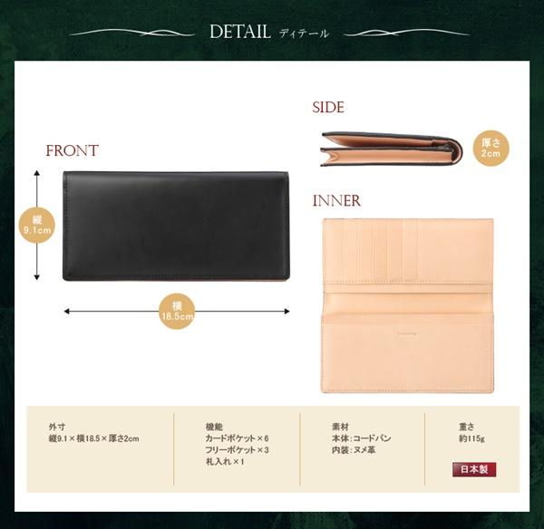 コードバン長財布のサイズ