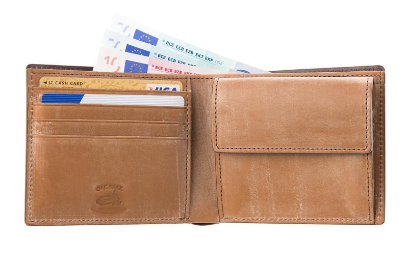 シンプルな構造の二つ折り財布